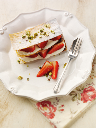 Strawberry millefeuille with vanilla seed cream and pistachio