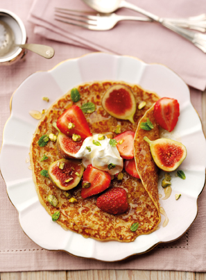 Fig & strawberry pancakes with honey, mint and pistachio