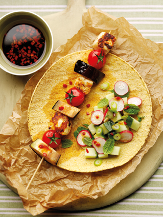 Griddled halloumi skewer wrap with radish, cucumber & chill salad