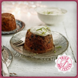 Mini Christmas Puddings with Spiced Rum & Lime Mascarpone