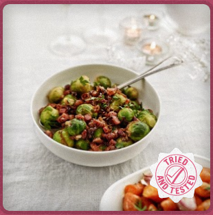 Brussels sprouts with caramelised shallots, pancetta & toasted hazelnuts