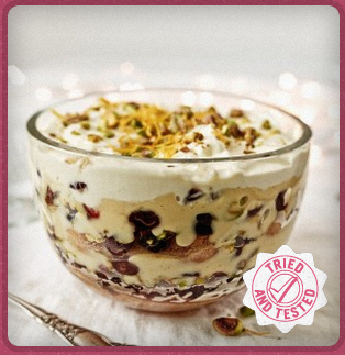 Cranberry, orange and rose water trifle